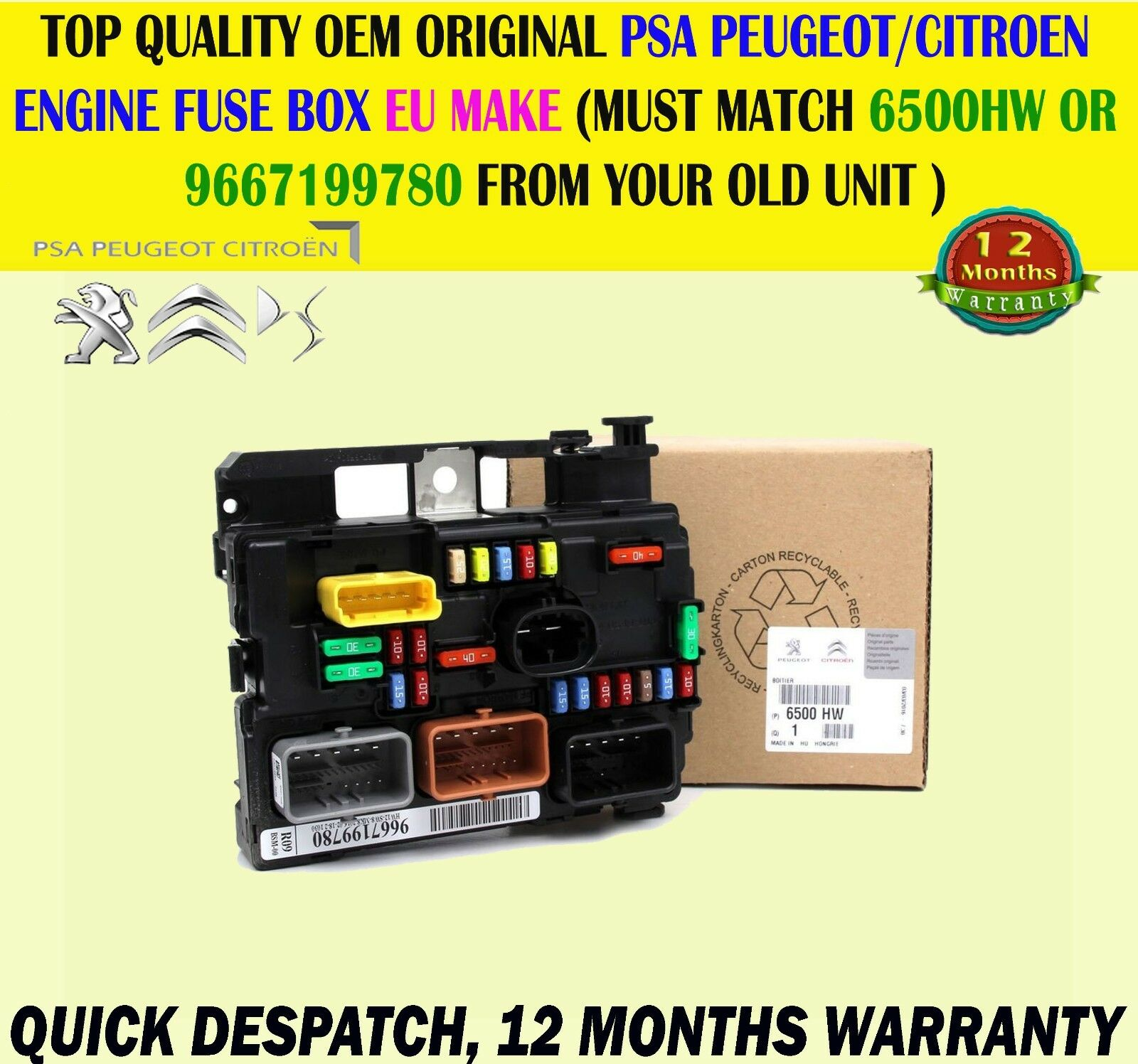 hight resolution of fits peugeot 207 citroen c3 picasso electronic control engine fuse box 6500hw 1 sur 1seulement 4
