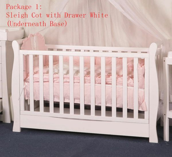 3 In 1 Sleigh With Drawer Crib Baby Bed Toddle