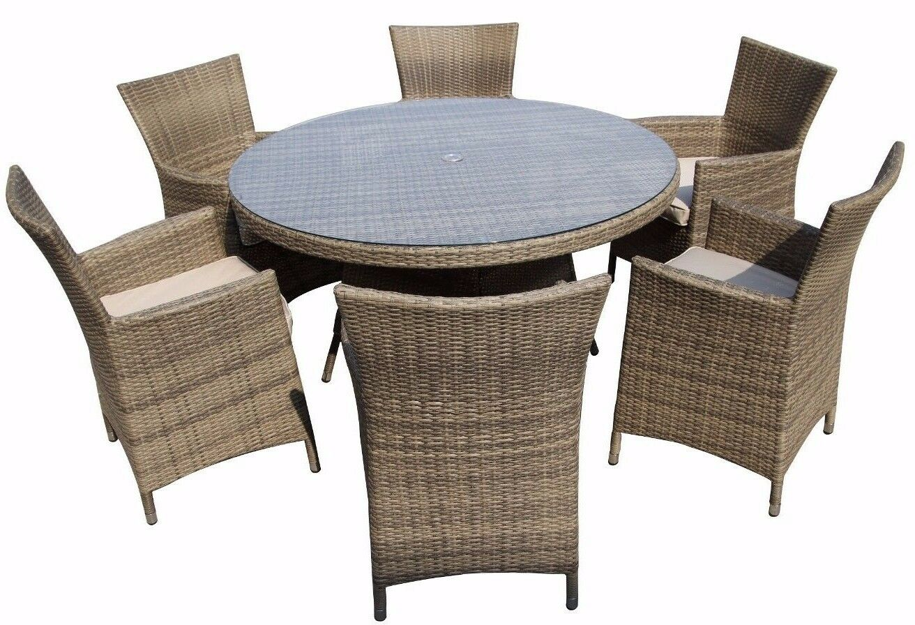 dining table set 6 chairs fur office chair seater rattan garden furniture 43