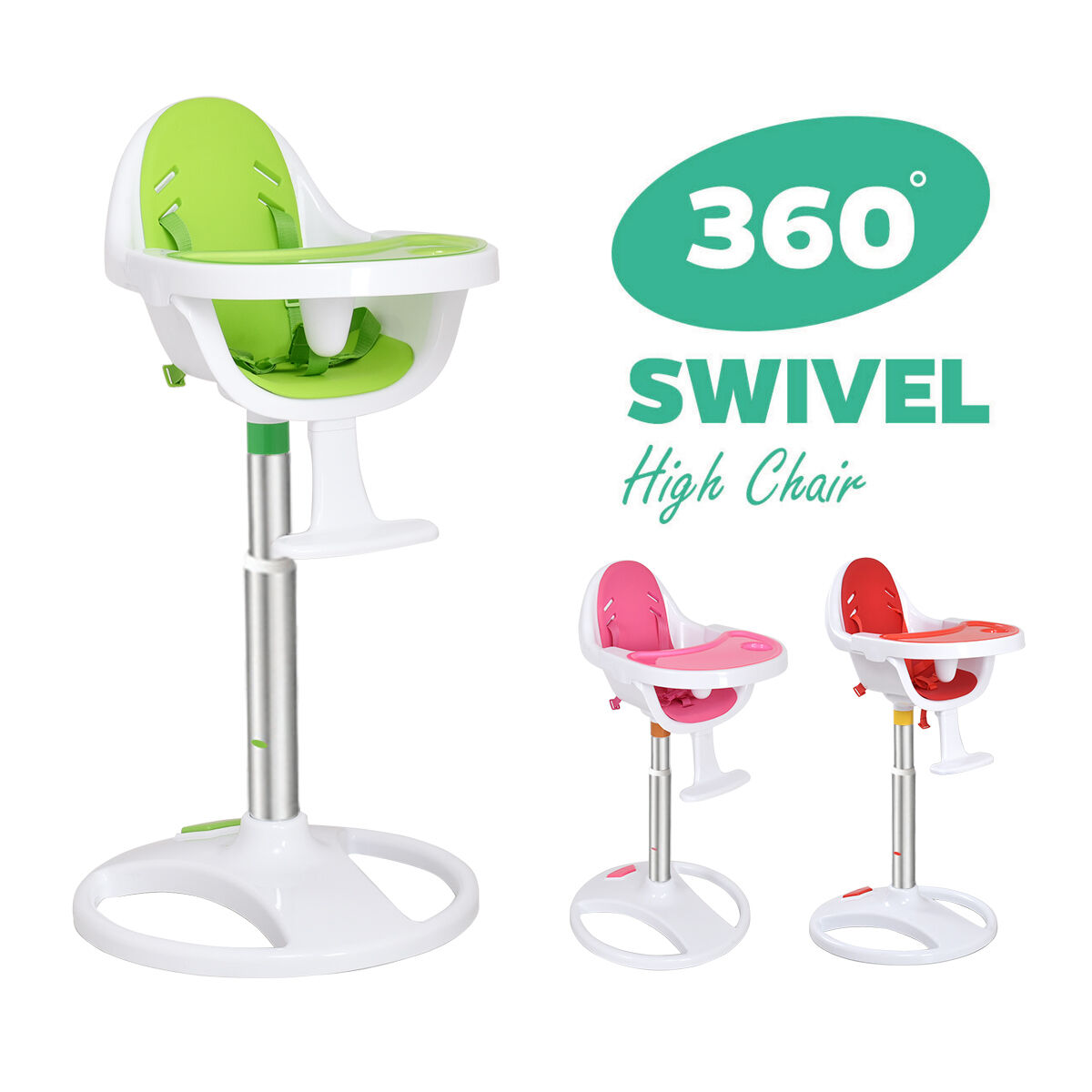 swivel high chair baby library ladder australia 360 adjustable 5 point safety