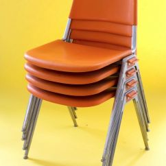 Orange Stackable Chairs Wheel Chair Vans 4 X Knoll Stacking Designed By Don Albinson