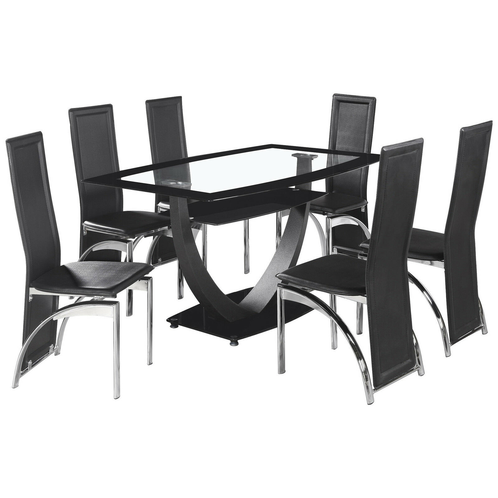 BLACK & Clear Glass Dining Table and Chair Set with 6