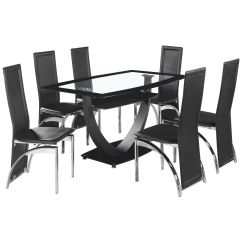 Clear Dining Chairs Canada Plastic Adirondack Uk Black And Glass Table Chair Set With 6