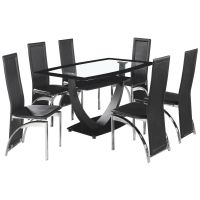 BLACK & Clear Glass Dining Table and Chair Set with 6 ...