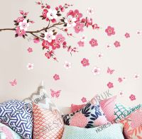 LARGE CHERRY BLOSSOM Flower Butterfly Tree Wall Stickers ...