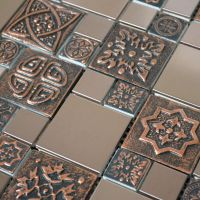 Copper Color Stainless Steel Metal Mosaic Tile For Kitchen ...