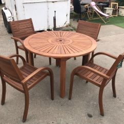 4 Seater Table And Chairs Red Outdoor Rocking Chair Almeria Round Wooden Garden Furniture Set 1