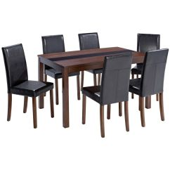 Clear Dining Chairs Canada Best Drafting Chair Walnut Finish Table And Set With 6 Black