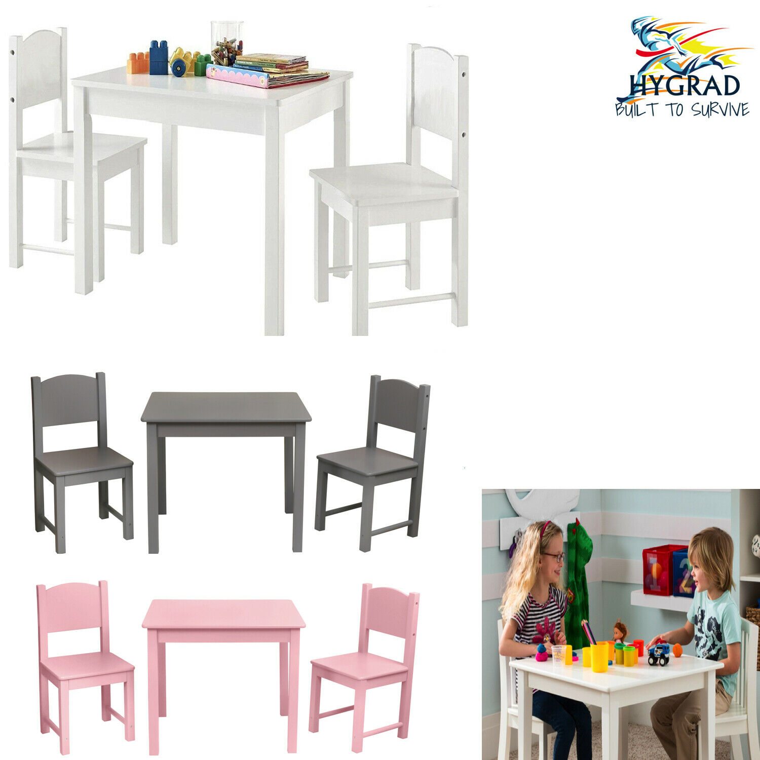 KIDS TABLE AND 2 Chairs Set Childrens Furniture Colourful