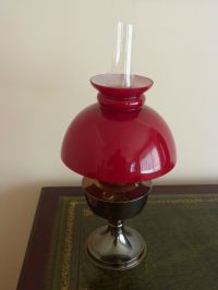VINTAGE Antique Aladdin No. 23 Brass Oil Table Lamp Glass ...