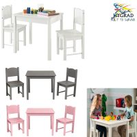 G4RCE Childrens Wooden White Table and Chair Set For Kids ...
