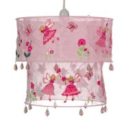 PINK FAIRY LAMPSHADE Ceiling Light Shade Fabric Butterfly ...