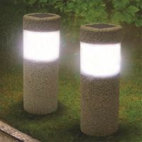 SOLAR POWERED Stone Pillar LED Garden Lights Lawn Yard ...