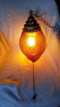 RETRO SWAG LAMP Optic Glass Vtg Amber Hanging Light ...