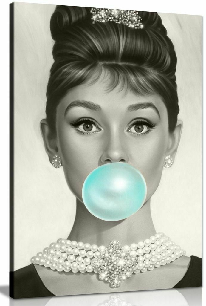 Audrey Hepburn Blue Bubblegum Canvas Wall Art Picture Print ...