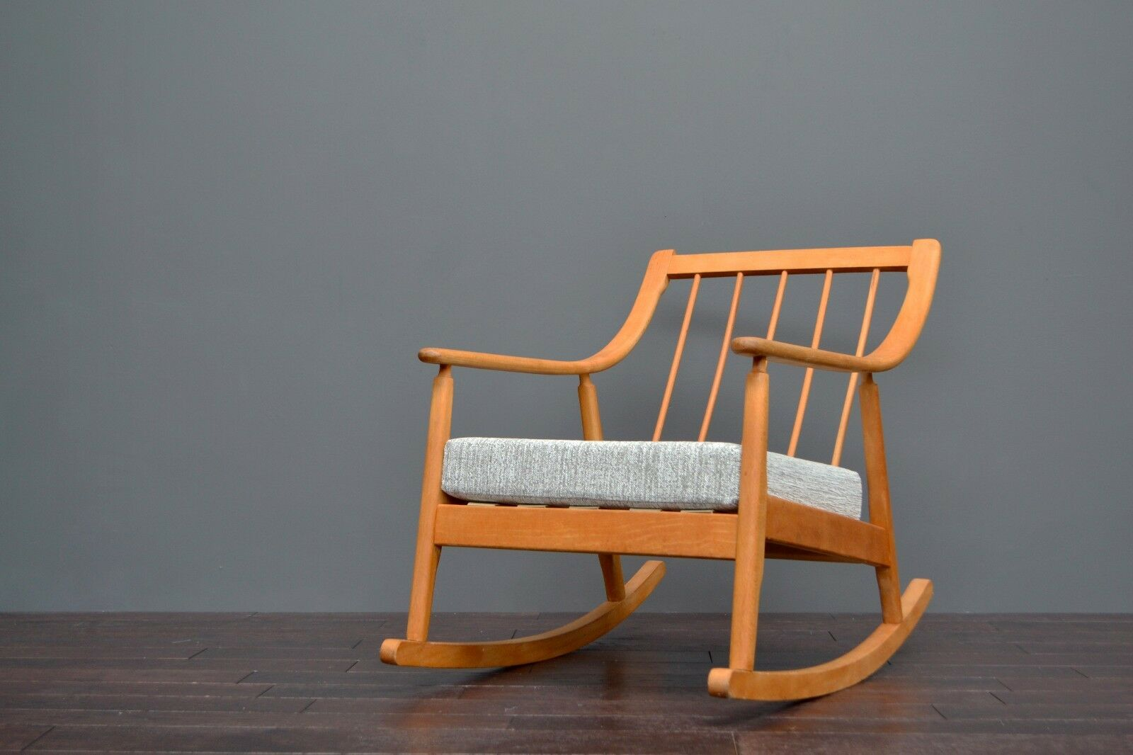 mid century modern rocking chair canada orange lounge vintage retro danish scandart