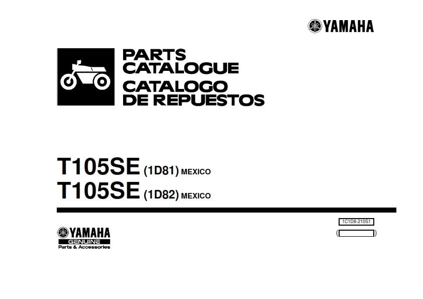 YAMAHA CRYPTON T105Se 1D81 1D82 Parts Manual 2003 Edition