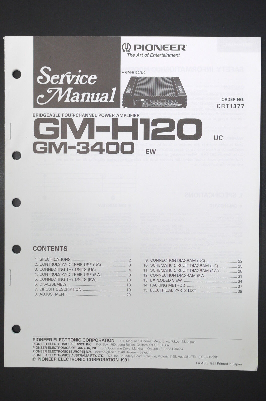 hight resolution of pioneer gm h120 gm 3400 power amplifier service manual wiring