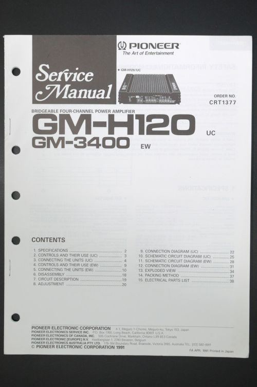 small resolution of pioneer gm h120 gm 3400 power amplifier service manual wiring