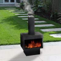 Outdoor Fire Pit Metal Chiminea Log Wood Burner Garden ...