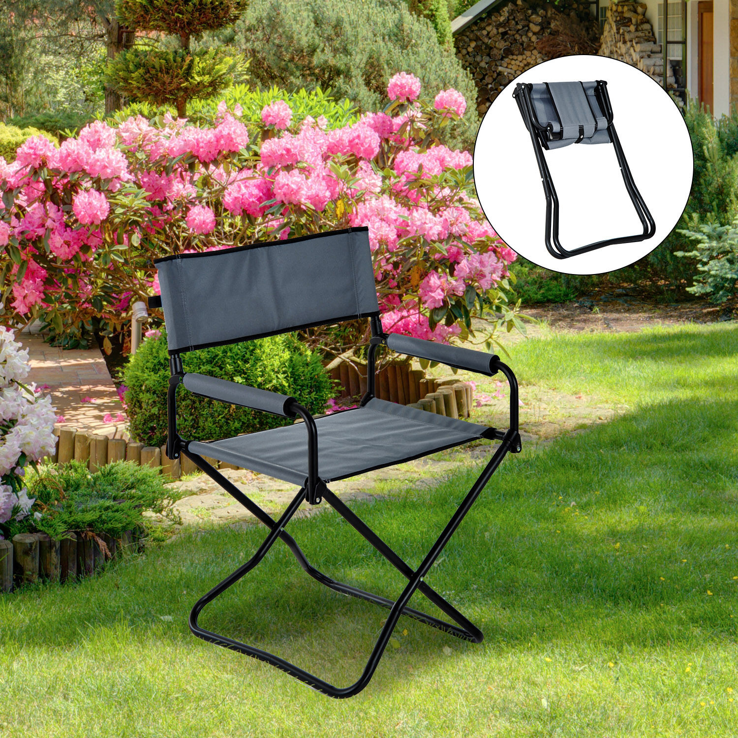portable picnic chair metal folding camping fishing seat garden