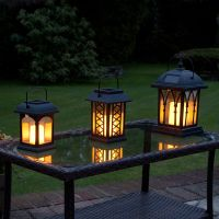 3 SOLAR Powered Outdoor Garden Patio Table Hanging Candle ...