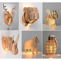 QUIRKY NOVELTY LED Wood Table Lamps & Wall Lights Stags ...