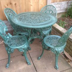 Antique Cast Iron Garden Table And Chairs Red Plastic Outdoor Vintage Furniture