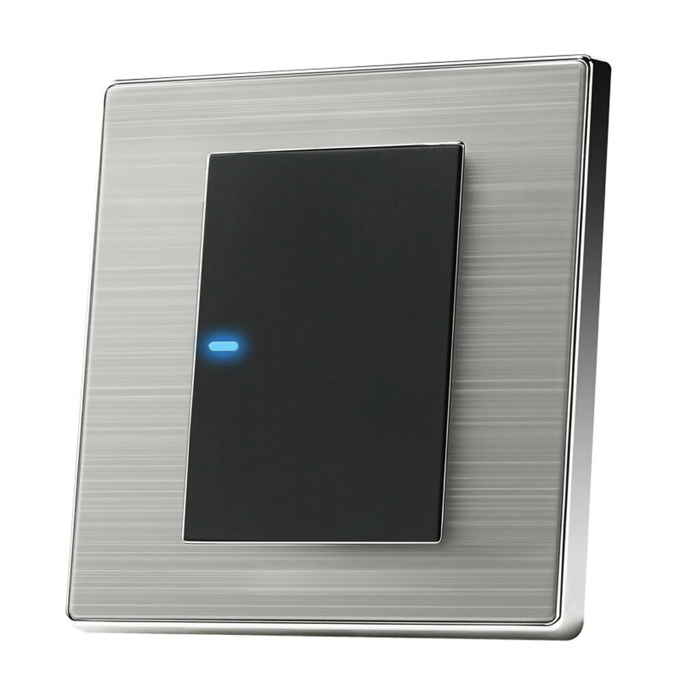hight resolution of led wall light switch brushed stainless steel 1 way gang modern