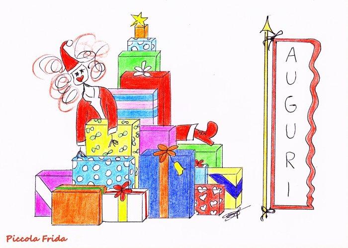 illustrazione natalizia a colori di Babbo Natale con tanti pacchi regalo