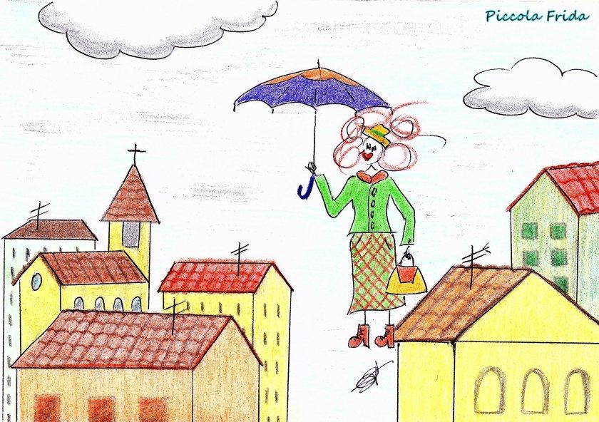disegno Mary Poppins con l'ombrello che vola - illustrazione