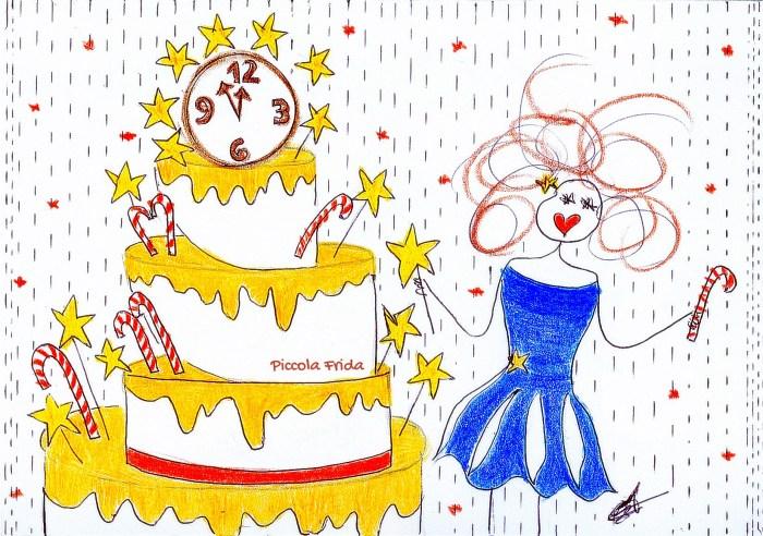 disegno torta per Capodanno - illustrazione a colori