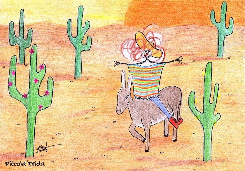 cactus nel deserto in Messico - illustrazione a colori