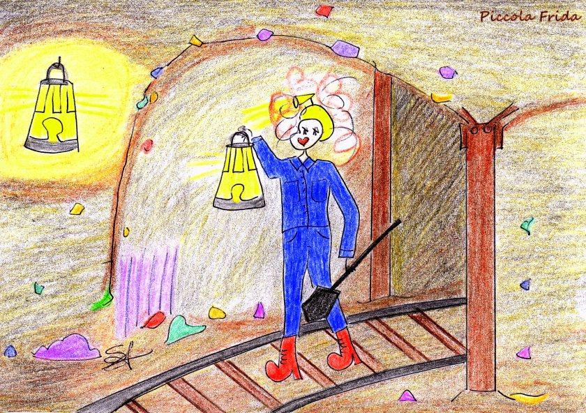 disegno - illustrazione minatore nella miniera