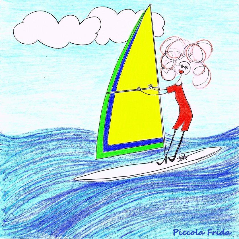 illustrazione surfista al mare - sport - estate - disegno