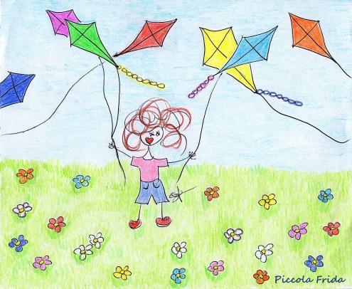 disegno bambino che gioca con gli aquiloni - illustrazione per bambini