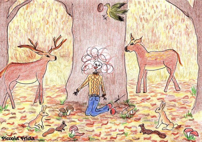 illustrazione disegno animali del bosco in autunno