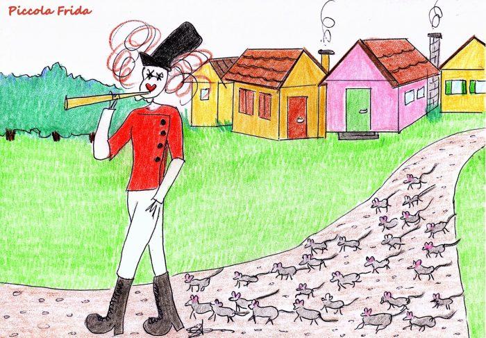 disegno Il Pifferaio magico - favola - fiaba - illustrazione di Susanna Albini