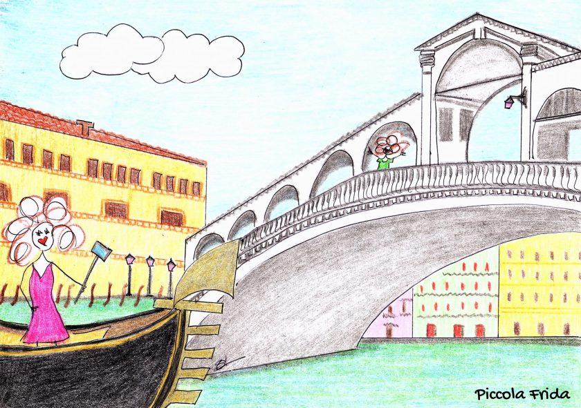 disegno bambina su una gondola a Venezia sotto il Ponte di Rialto