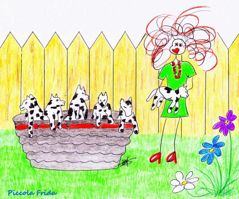 Piccola Frida - disegno cuccioli cane - illustrazione di Susanna Albini