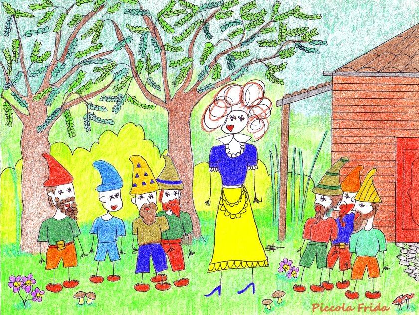 disegno illustrazione Biancaneve con i sette nani nel bosco - favola