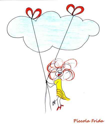 disegno illustrazione bambina tra le nuvole - Fly - Sky - disegno di Susanna Albini