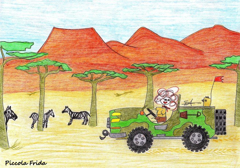 disegno illustrazione jeep safari nella savana con baobab e zebre