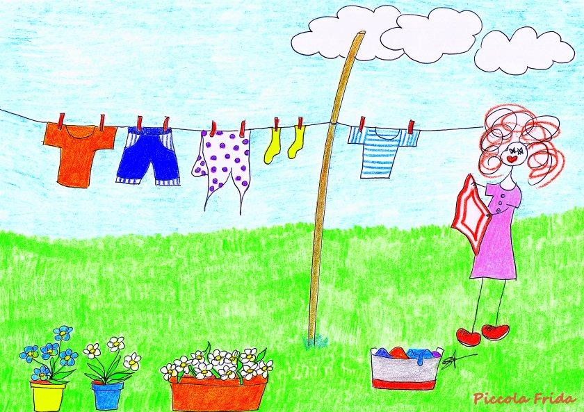 Piccola Frida disegno stende il bucato al sole - illustrazione di Susanna Albini