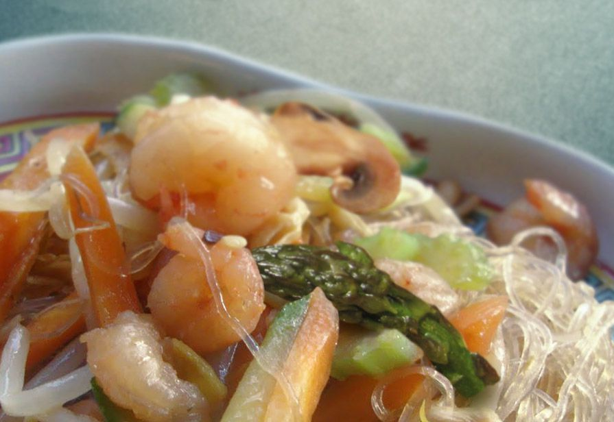 Spaghetti di soia alle verdure
