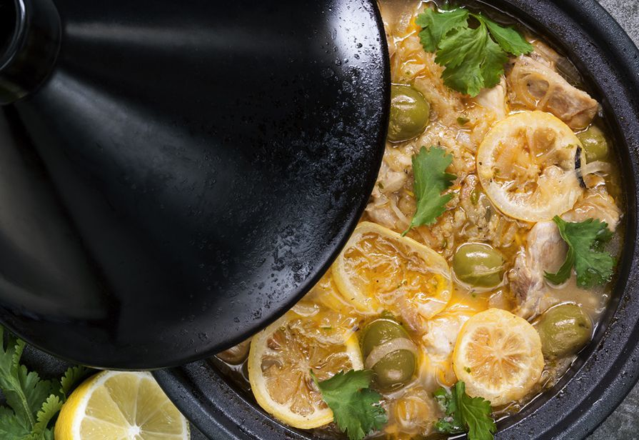 Tajine di pollo ai limoni e olive