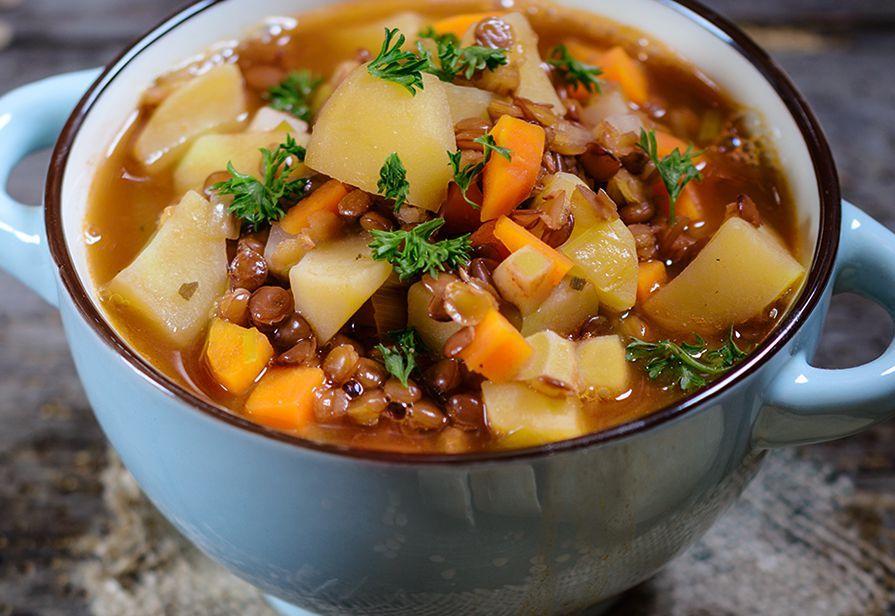 Zuppa veloce di lenticchie