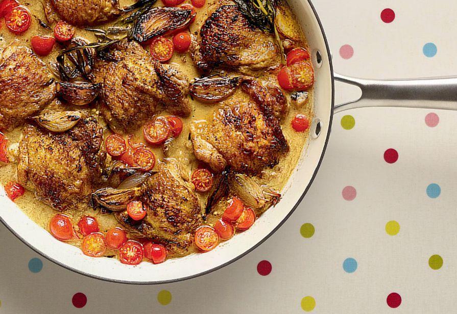 Pollo e scalogni in casseruola