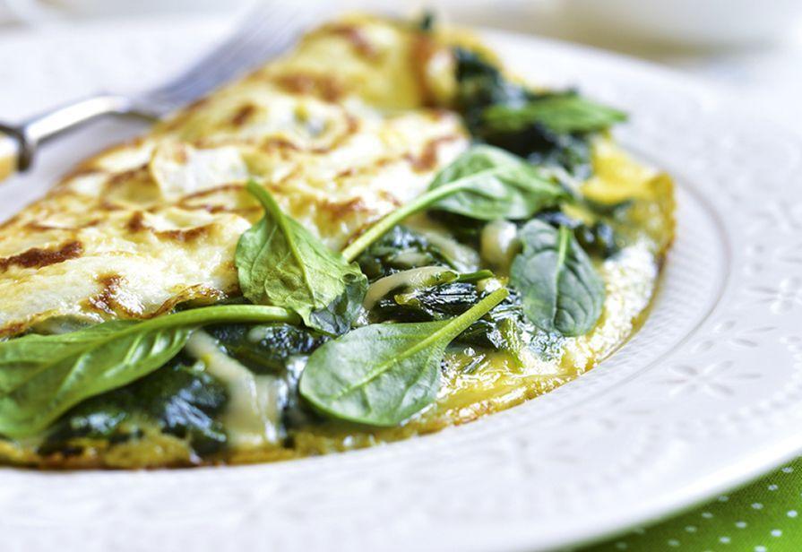 Omelette al formaggio e spinacini