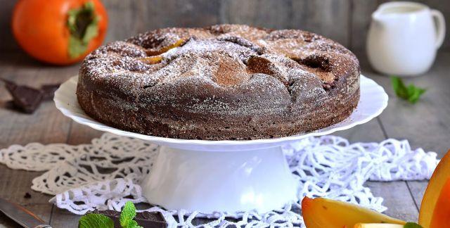 Torta al cioccolato e cachi vaniglia